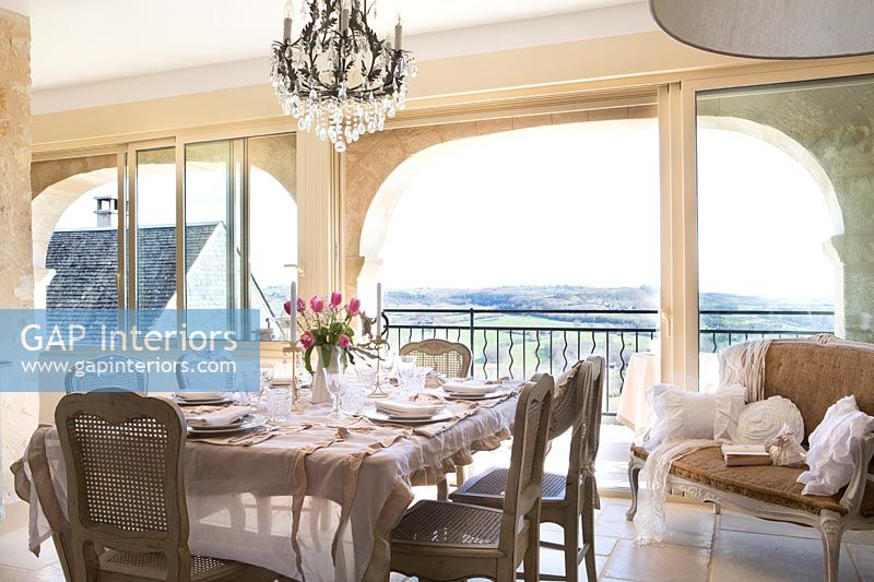 Classic country dining room with views out to countryside