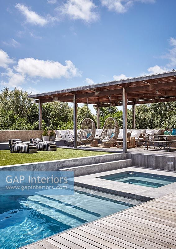 Swimming pool and outdoor seating area