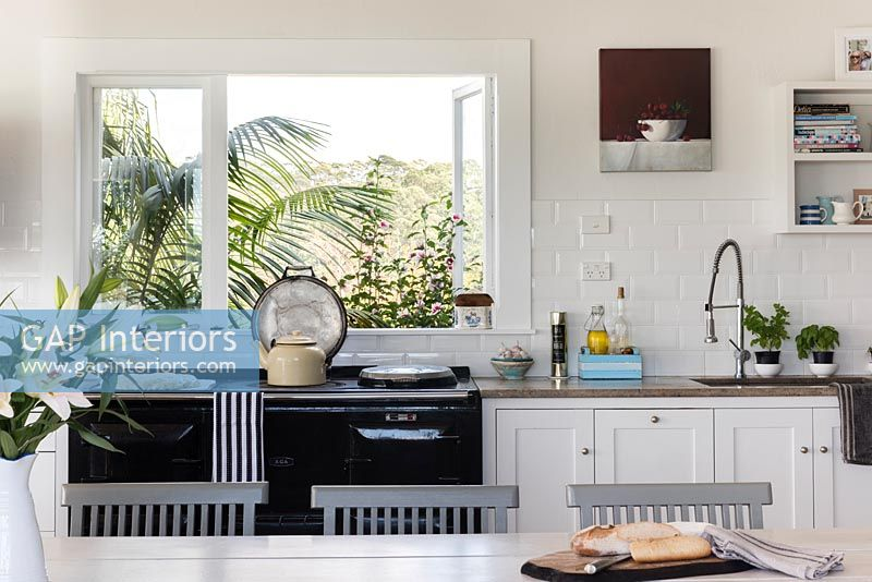 Classic range cooker and kitchen window