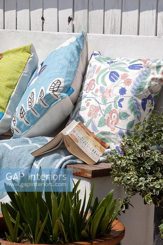 Detail of brightly coloured cushions