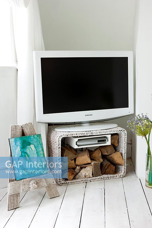 Television on rustic modern stand