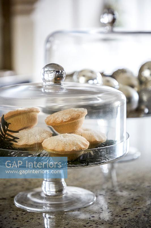 Mince pies in decorative covered cake stand