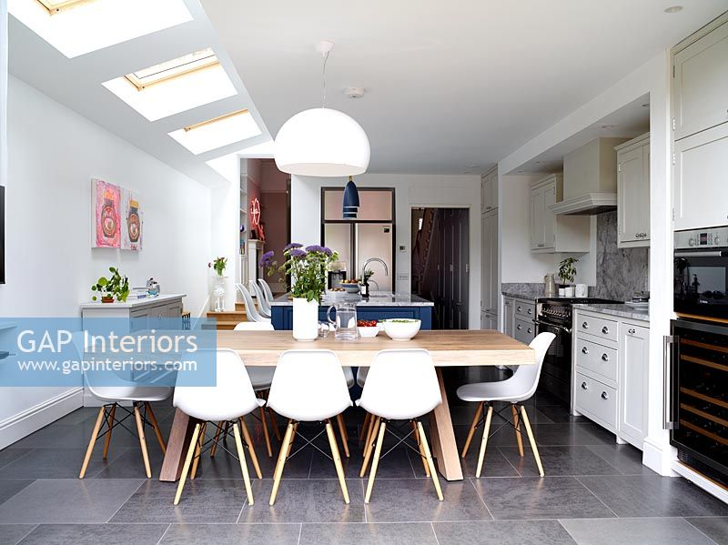 Large dining table in modern kitchen