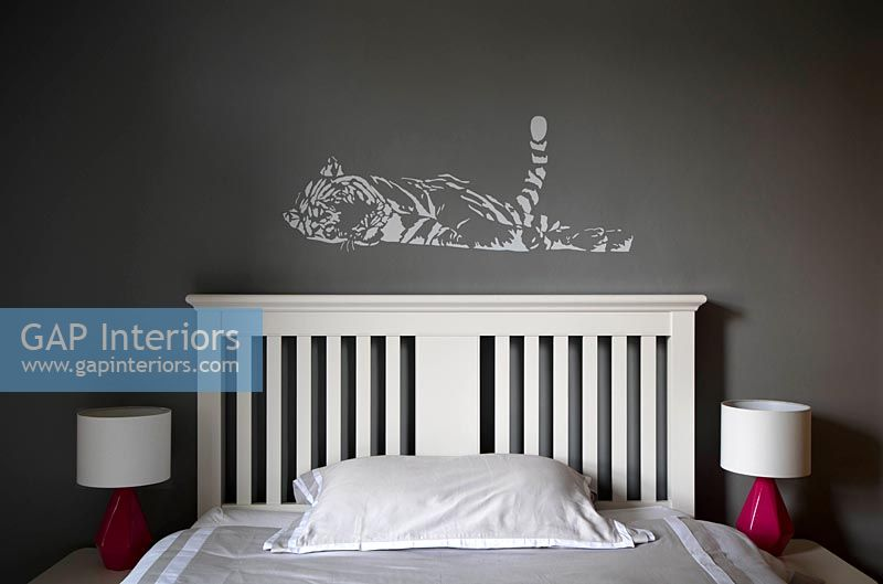 Detail of Tiger mural in childrens bedroom