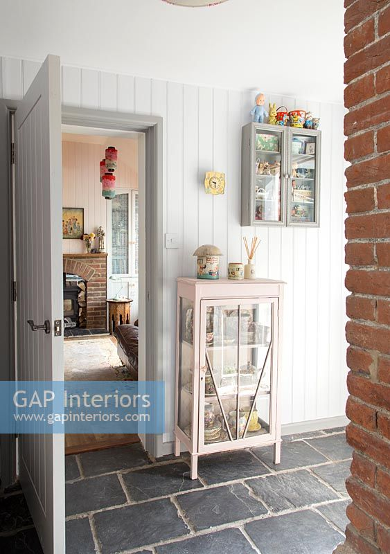 Gap Interiors Vintage Display Cabinets In Country Living Room