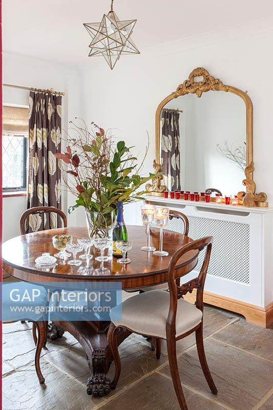 Champagne on table in country dining room
