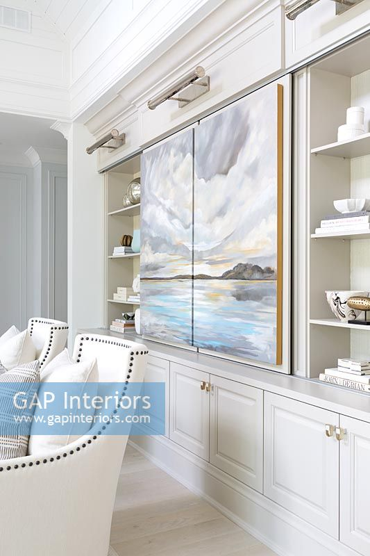 Mural painted on cabinet doors in classic living room