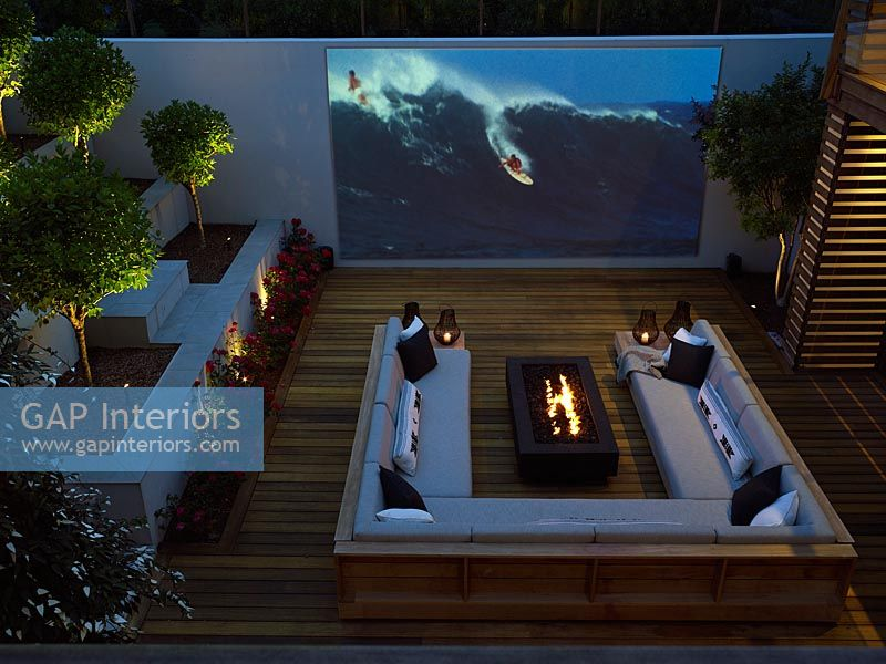 Outdoor cinema on roof terrace