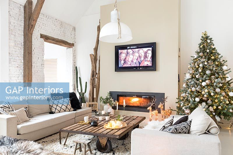 Modern country living room at Christmas