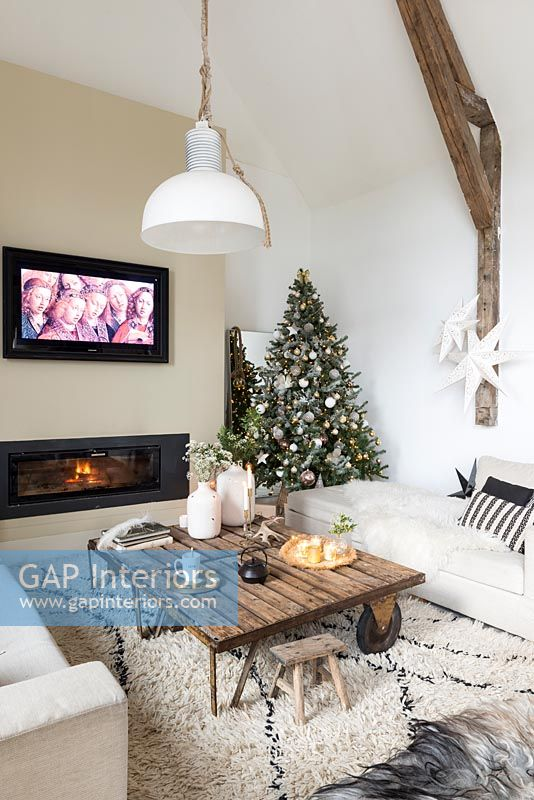Christmas tree in modern country living room