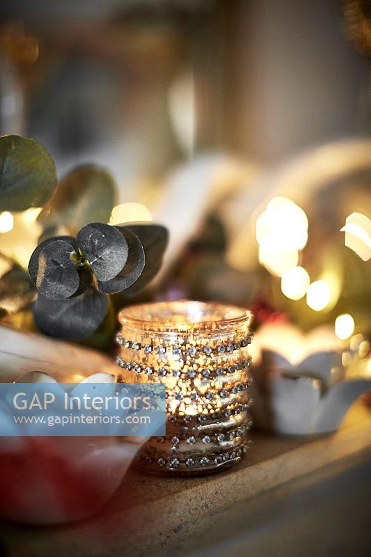 Close up Christmas candle holders