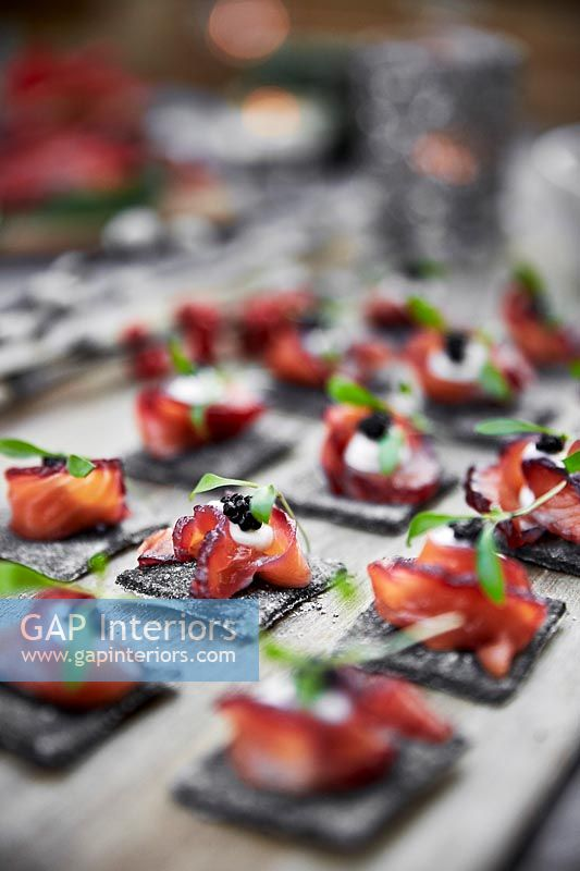 Canapes on chopping board - Christmas Dinner
