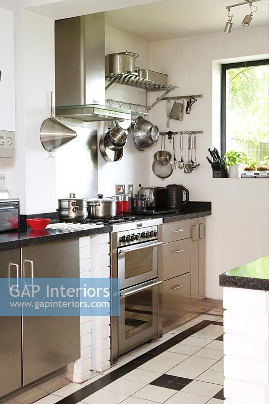 Stainless steel cupboards and appliances in modern kitchen