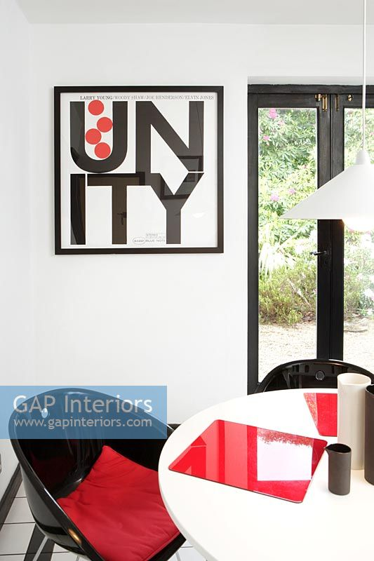 Black, white and red modern dining room
