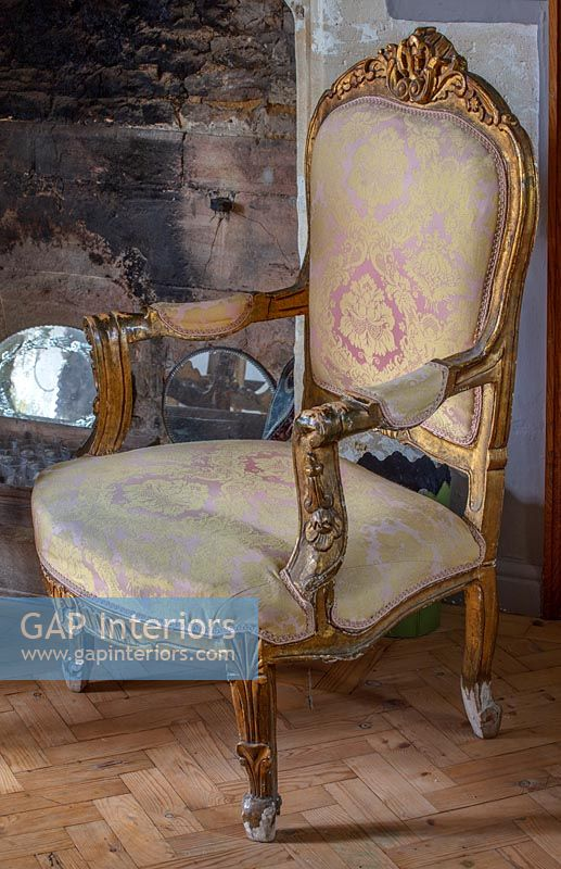Vintage gilt and pink damask chair