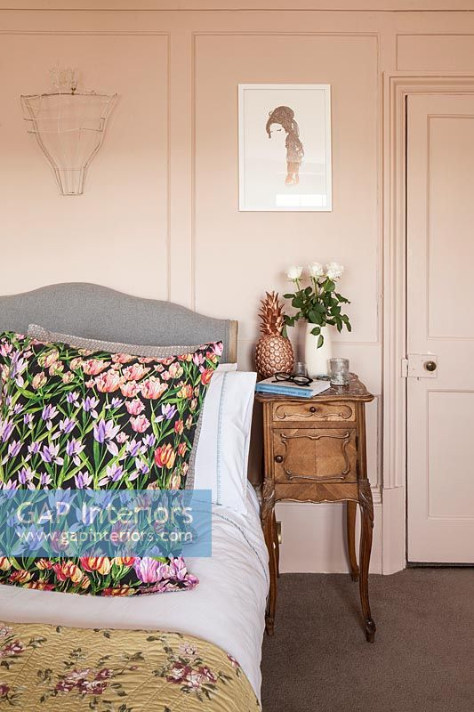 Dusky pink painted country bedroom