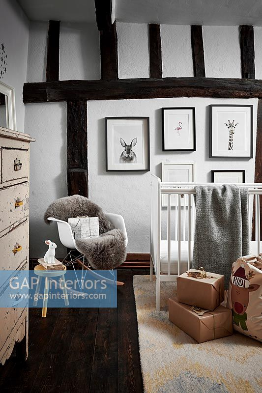 Childrens country bedroom with Christmas gifts