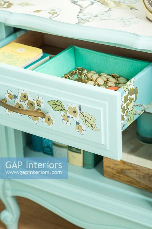 Mint green decorative side table