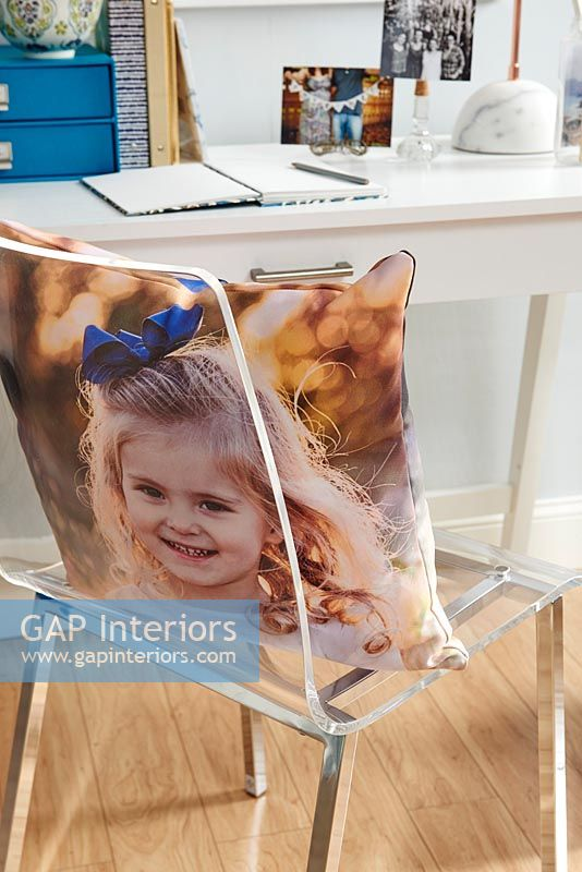 Modern study - chair with photographic cover on cushion