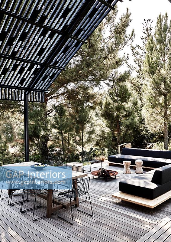 Modern outdoor living and dining area