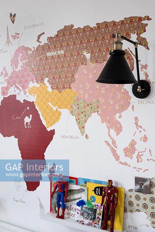 World map mural in childrens bedroom