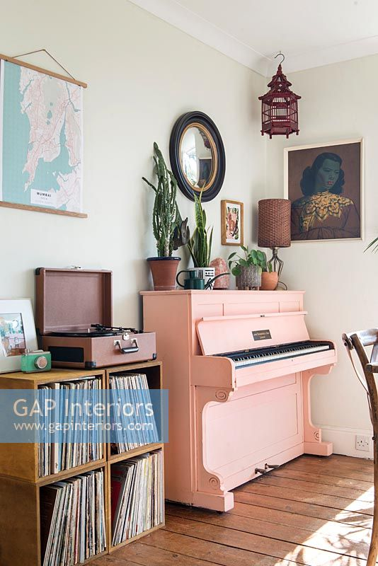 Pink piano and portable turntable