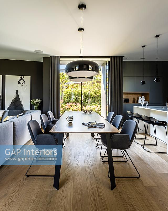 Dining area in contemporary open plan living space