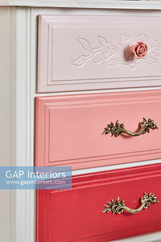 Chest of drawers with drawers painted in different colours