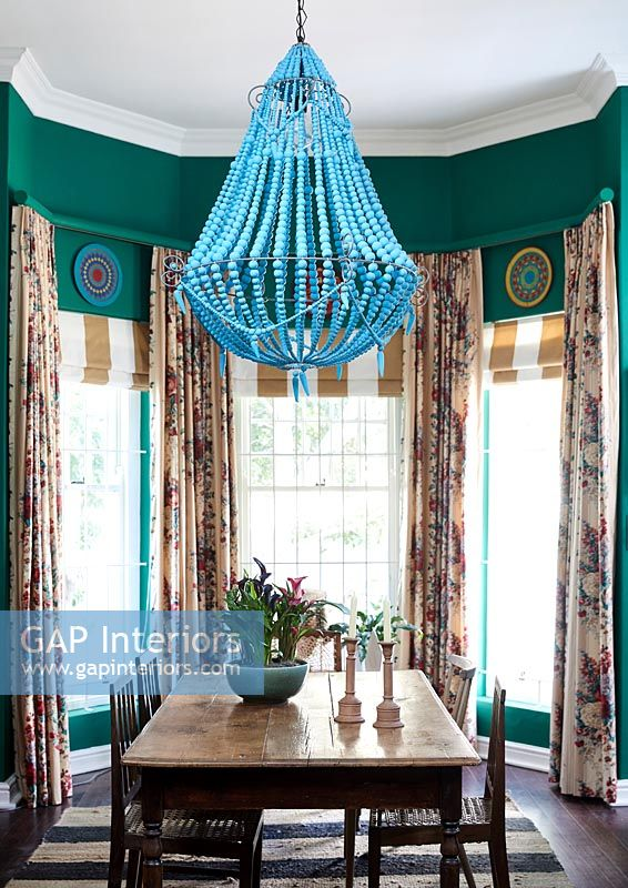 Colourful and eclectic dining room