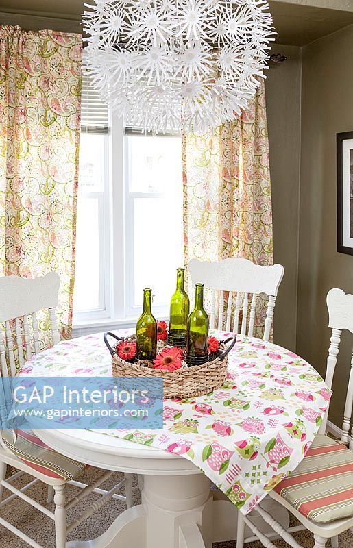 Country dining room with colourful tablecloth