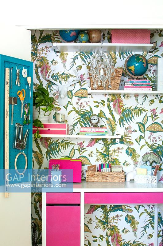 Tiny office with tropical design wallpaper