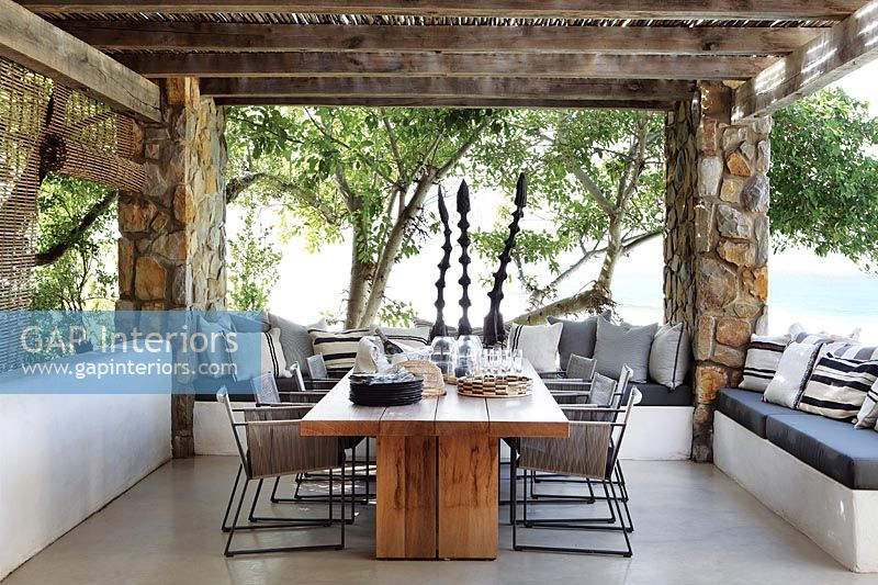Modern dining table on terrace