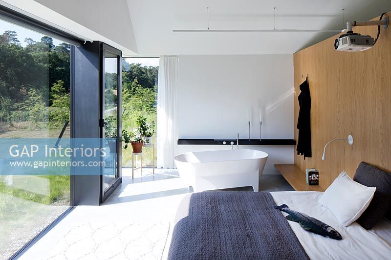 Modern bedroom with bath
