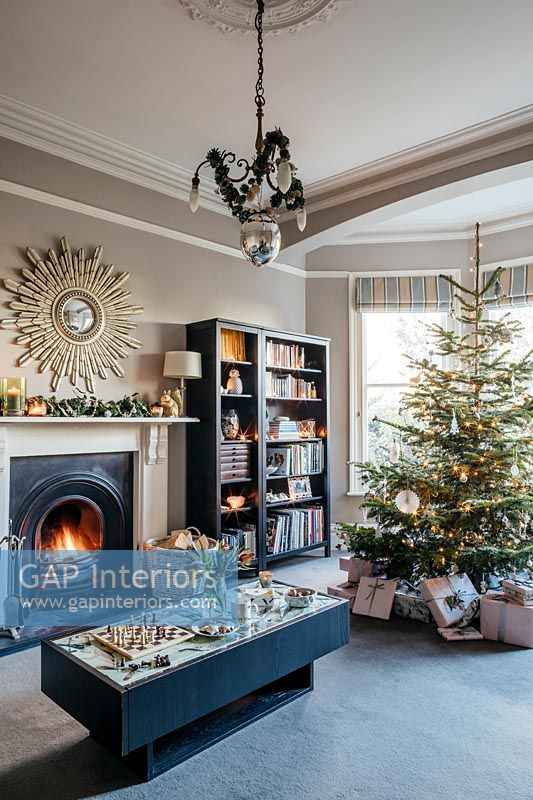 Classic living room decorated for Christmas