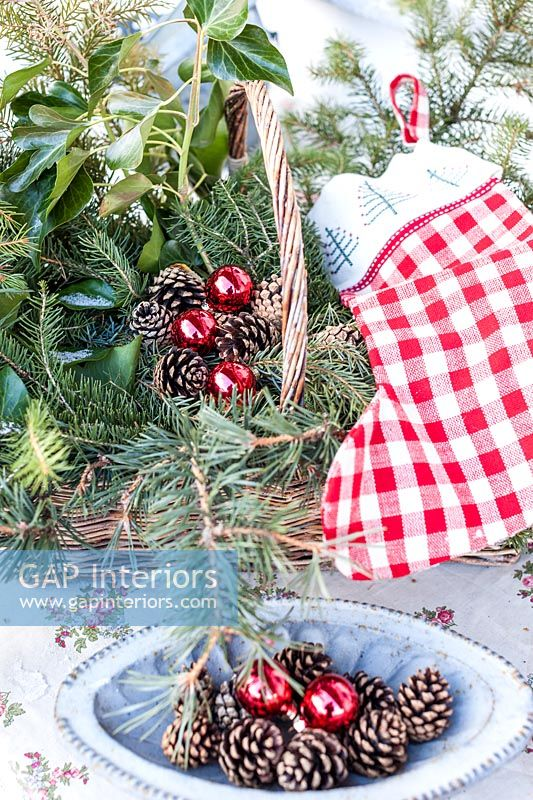 Wicker basket decorated for Christmas