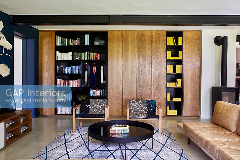 Modern living with book shelves