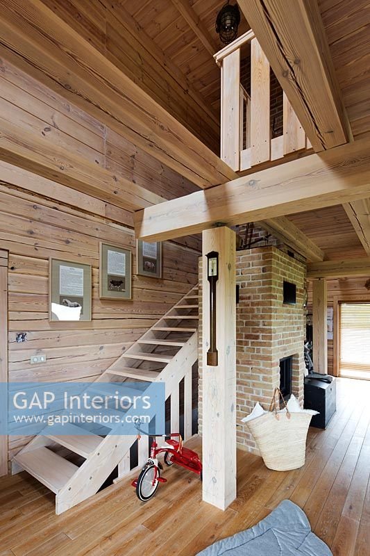 Modern wooden stairs and beams