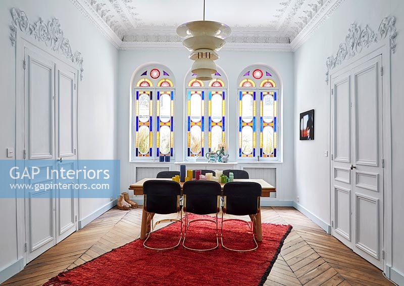 Stained glass windows and period details - modern dining room