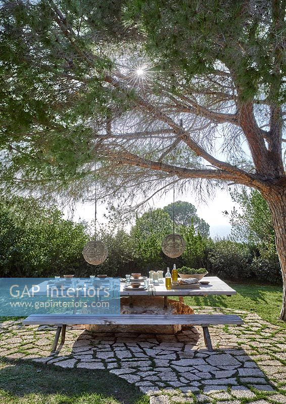 Large picnic table under tree laid for lunch