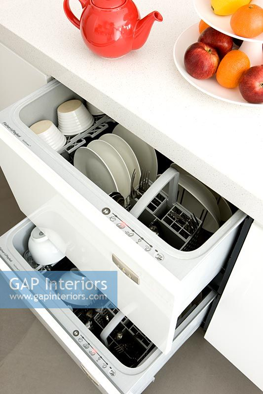 Open dishwasher in contemporary kitchen