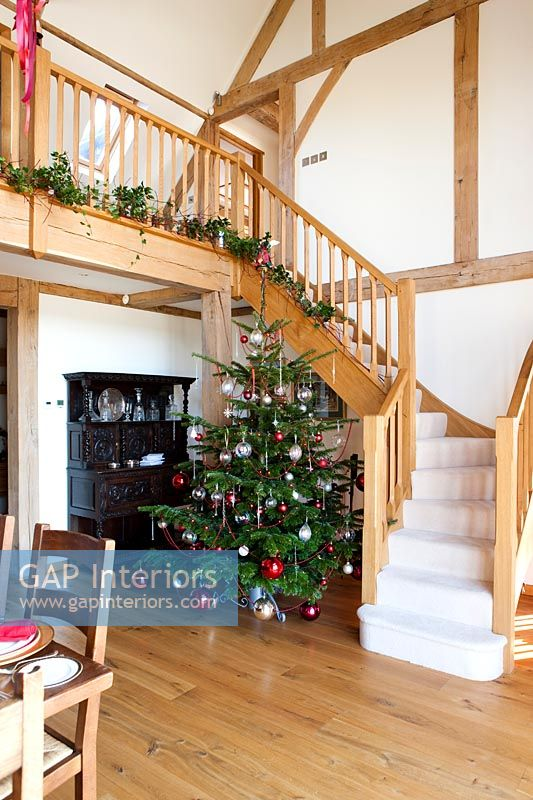 Country staircase decorated for Christmas