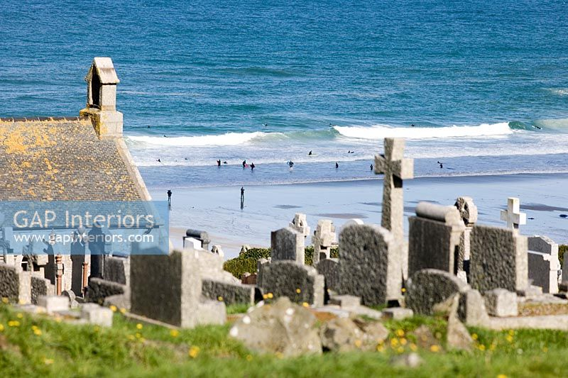 View of churchyard and beach