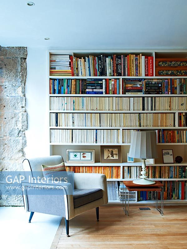 Modern bookcase and chair