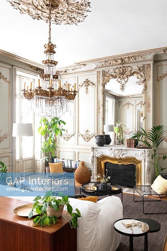 Classic living room with ornate cornicing and period details