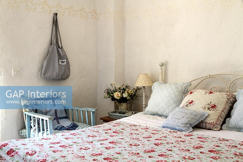 Country bedroom with floral bedding