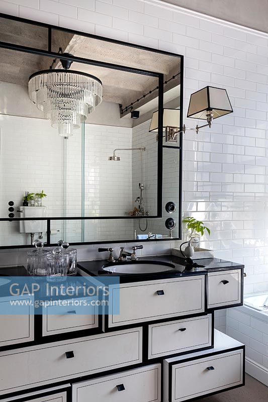 Modern bathroom with vintage sink unit and mirror