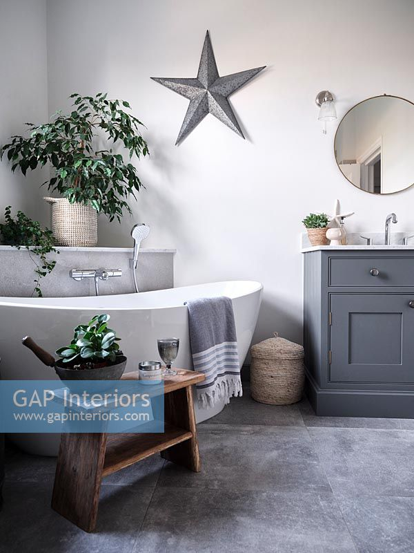 Modern grey and white bathroom