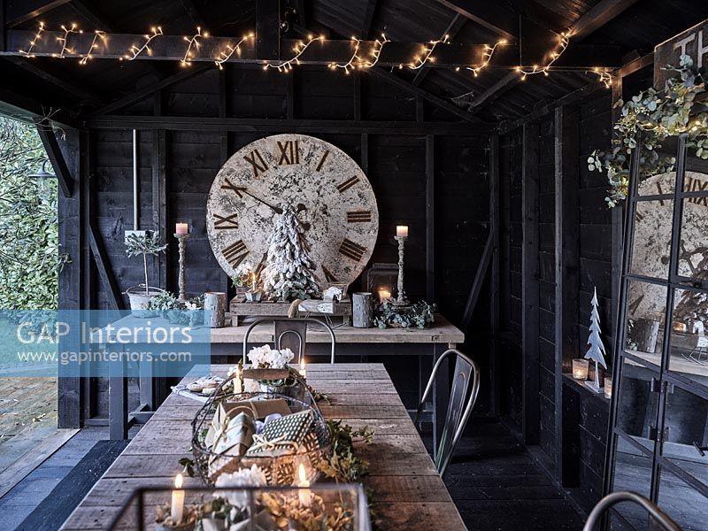 Outdoor dining area decorated for Christmas