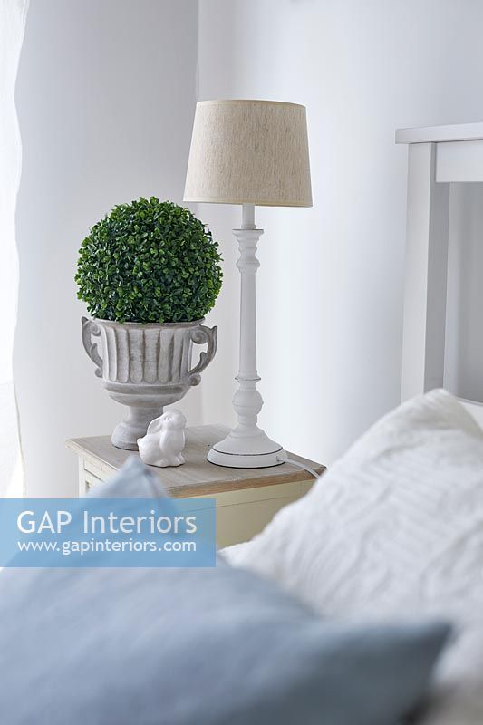 Lamp and small topiary plant on modern bedside table