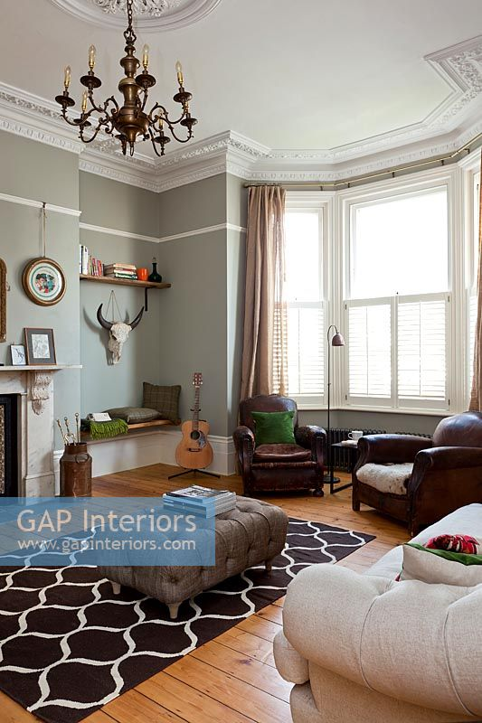 Modern living room with period details
